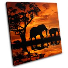 Elephant African Sunset Animals - 13-1793(00B)-SG11-LO